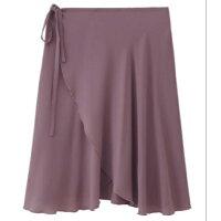 バレエ大人巻きスカート長めエレガントロング丈透けにくいブラックグレーアイボリーコーヒーパープルグリーンブルー