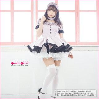 キャンディフルーツベルフィーユメイド服(ダスティピンク)レディース半袖グレーM,XLサイズ