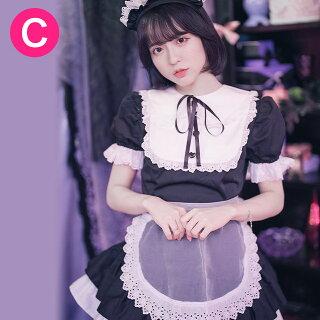 キャンディフルーツベビードールメイド服(カシス・ブラック)レディース半袖黒パープル紫Mサイズ数量限定