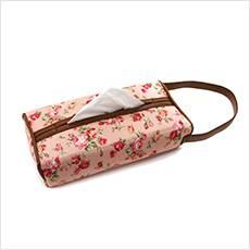 バラ柄のかわいい車用ティッシュボックスカバー・アンティークフラワー・ピンク