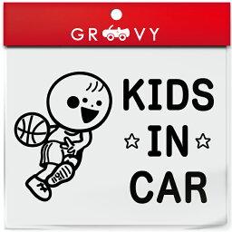 キッズ イン カー 車 ステッカー バスケ バスケット ボール ドリブル NBA Bリーグ 子供 乗ってます 可愛い スポーツ kids in car ベビー インカー かわいい おしゃれ シール グッズ 防水 エンブレム アクセサリー ブランド 雑貨