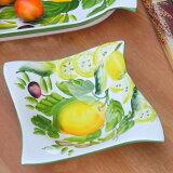 イタリア製 陶器 レモン オリーブ 立体 レリーフ デザートボウル ハンドメイド スクエア 小鉢 食器 bre-1646-14le