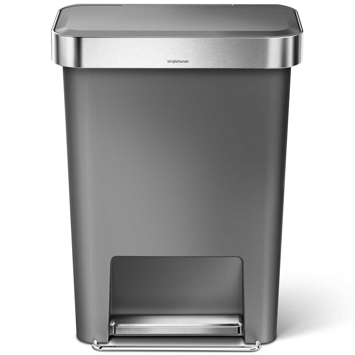 simplehuman ゴミ箱 プラスチックレクタンギュラーステップカン 45L ふた付き ペダル ダストボックス ごみ箱 シンプルヒューマン 正規品 メーカー保証付き 角型ゴミ箱 45リットル CW1386 グレー