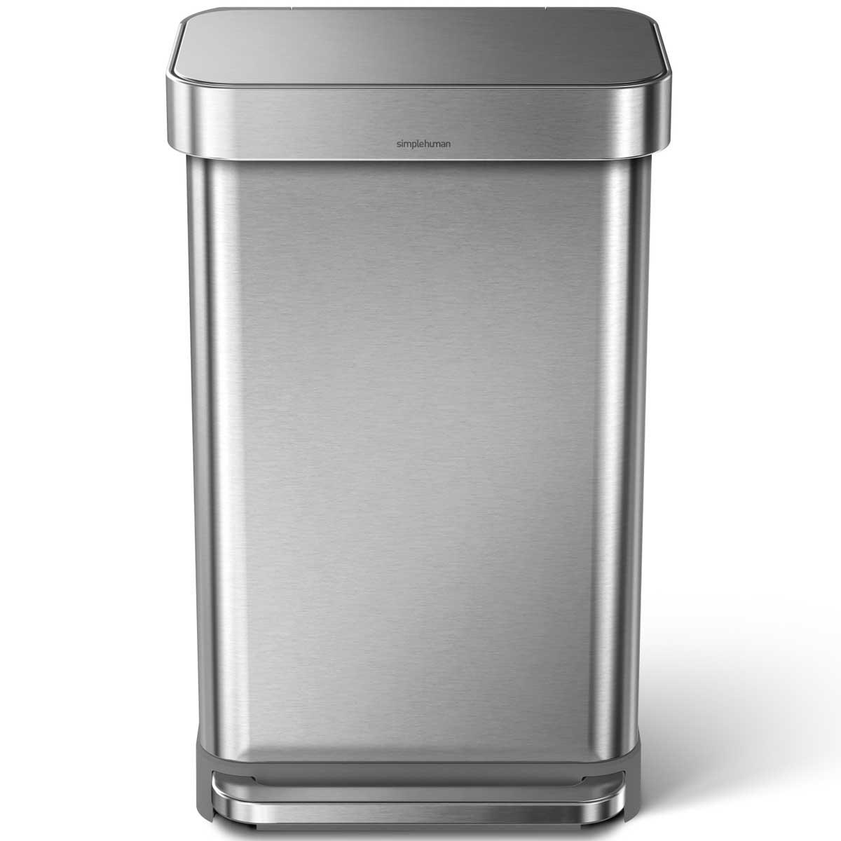 simplehuman ゴミ箱 レクタンギュラーステップカン 45L ふた付き ペダル ダストボックス ごみ箱 シンプルヒューマン 正規品 メーカー保証付き 角型ゴミ箱 45リットル CW2024 ステンレスシルバー