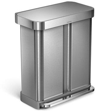 simplehuman 分別レクタンギュラーステップカン 58L ふた付き 分別ゴミ箱 大容量 ダストボックス ごみ箱 シンプルヒューマン 正規品 メーカー保証付き 分別ゴミ箱 58リットル CW2025 シルバー