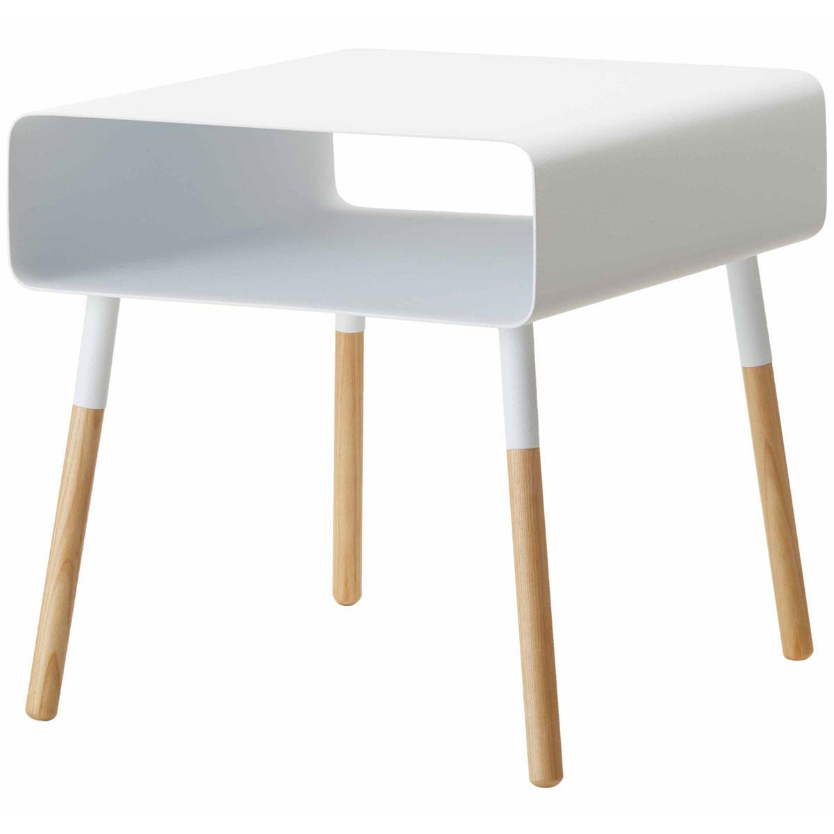 サイドテーブル 山崎実業 PLAIN ローサイドテーブル 収納付き 角型 低め コーヒーテーブル ナイトテーブル YAMAZAKI プレーン ホワイト