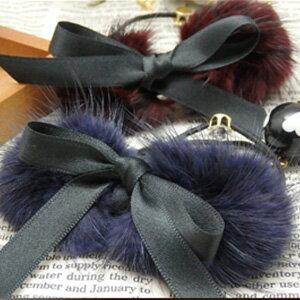 針織水貂皮草 & 緞和頭髮配件 (頭髮鬆緊帶) 海軍 / 勃艮第飾品 / 配件 / 女士傑瑞 / 配件