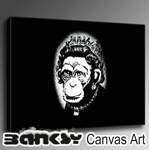 絵画, その他  BANKSY CANVAS ART Queen Monkey Black 30.5 x 21.0cm bqmblack30