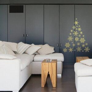セール中!ウォールステッカークリスマスパターンF雪の結晶ゴールドpsc-58171【RCP】