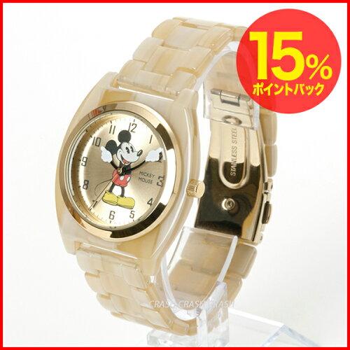 Disney(ディズニー)ミッキーアイボリーアセテート腕時計/オールドミッキーウオッ...