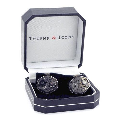 カフス カフスボタン TOKEN & ICONS 機械時計ムーブメント シルバー925 カフリンクスメンズアクセ...
