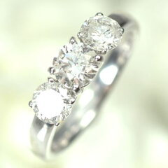 【天然ダイヤモンド】【送料無料!50%OFF】【ダイヤモンドリング】プラチナ・ダイヤ1.0ct スリ...