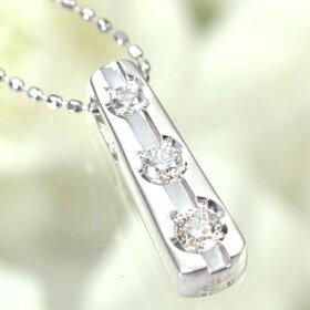 K18WG・ダイヤモンド0.15ctスリーストーンペンダント