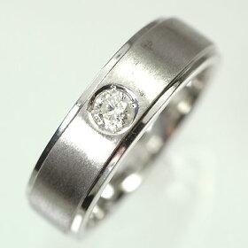 【ホワイトゴールド】K18WG・ダイヤモンド0.15ctメンズリング(指輪)