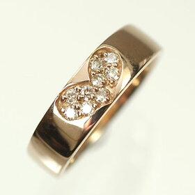 【ピンクゴールド】K18PG・ダイヤモンド0.11ctピンキーリング(指輪)