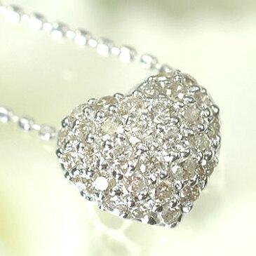 ダイヤモンド ネックレスK18WG・ダイヤモンド0.25ct ハートパヴェペンダント(ネックレス)