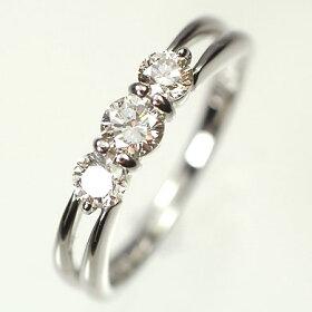 プラチナ・ダイヤモンド0.5ctスリーストーンリング(指輪)