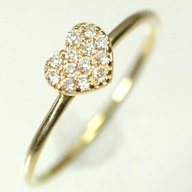 K18YG・ダイヤモンド0.10ctハートパヴェリング(指輪)