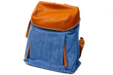 【中古】バッグ 男女兼用バッグ ロエベ バックパック リュック デニム×ブラウン ブラウンレザー 鞄 カバン