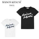 【国内正規品】MaisonKitsuneメゾンレディースキツネロゴプリントTシャツブラックホワイトラウンドネックフランスパリブランド半袖定番送料無料