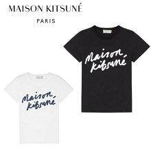正規品新入荷2018awMaisonKitsuneメゾンレディースキツネロゴプリントTシャツブラックホワイトラウンドネックフランスパリブランド半袖定番送料無料