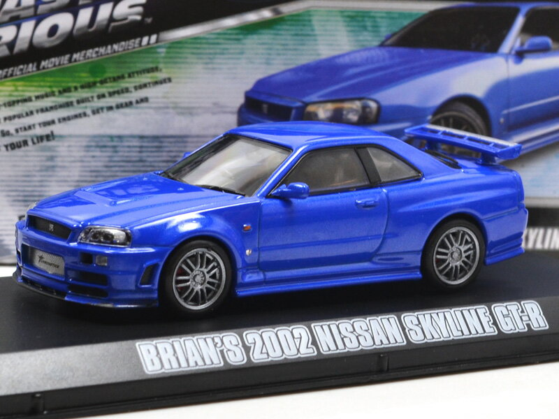 車, ミニカー・トイカー GREENLIGHT 1:43SCALE FASTFURIOUS 4 BRIANS 2002 NISSAN SKYLINE GT-R(BLUE) 143 MAX 2002 GT-R() R34
