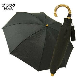 日傘晴雨兼用軽量折りたたみ傘紫外線対策スライドショートバンブーハンドルコットンピケタッセルおしゃれかわいいレディースギフト黒ブラックネイビー