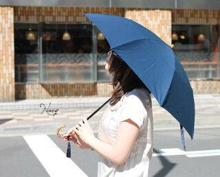 日傘晴雨兼用軽量折りたたみ傘UV対策紫外線対策スライドショートバンブーハンドルコットンピケタッセルおしゃれかわいいレディース母の日ギフト黒ブラック【532P19Apr16】