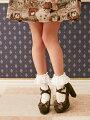 スカラップ×グログランリボンクロスベルト太ヒールパンプス太ヒールパンプスクロスベルトリボンスエードスカラップ上品可愛い美脚歩きやすいチャームロリータお嬢様レトロハイヒールストラップブラック黒ブラウンレディース靴太ヒールパンプス夢展望