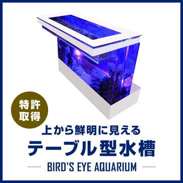 バーズアイ水槽 テーブル型水槽 水槽 テーブル 水槽セット 熱帯魚 インテリア オーバーフロー水槽 店舗什器 魚 アクアリウム 金魚 <バーカウンター ホワイト BEA-COU-1506-W>