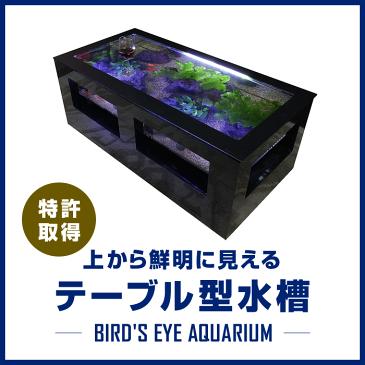 バーズアイ水槽 テーブル型水槽 水槽 テーブル 水槽セット 熱帯魚 インテリア オーバーフロー水槽 店舗什器 魚 アクアリウム 金魚 <レクタングラテーブル ブラック BEA-SQU-1206-B>