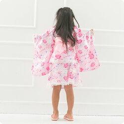小紅梅生地浴衣ドレスバラ×リボン柄浴衣ドレス帯付き浴衣ドレス2点セット【3歳〜10歳各サイズ】【宅急便で送付】