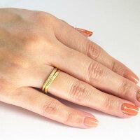 ダイヤモンドリングダイヤリングシンプルカーブウェーブ2本セットイエローゴールドK18YG指輪【送料無料】【コンビニ受取対応商品】