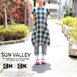 SUNVALLEY/サンバレーブロックチェックワンピースsunvalleyコットン30トップ糸ギンガムチェックスモックワンピース/フレンチスリーブエプロンワンピース/ゆったり大きいサイズモモンガワンピース/2wayデザインAラインワンピース