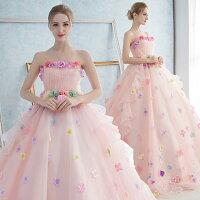 【サイズ有S/M/L/XL/2XL】ウェディングドレスロング丈カラードレスピンクホワイト妊婦さんもOKお呼ばれドレスに大人気のロングドレスサイズ豊富二次会パーティーにもお勧め!オーダーメイド対応da080s1s1n1/代引不可05P18Jun16