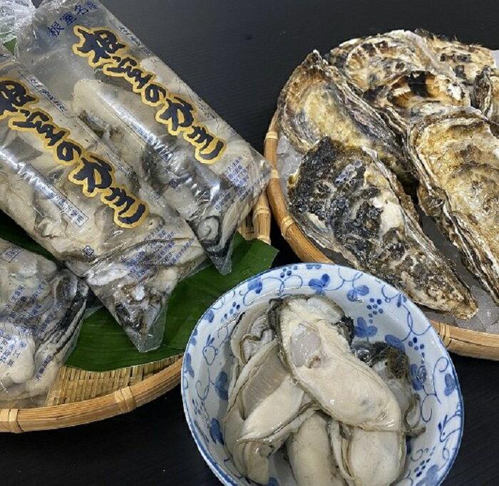 【ふるさと納税】[北海道根室産]貝付き牡蠣10個、牡蠣むき身150g×2P A-54008