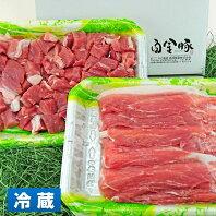 【ふるさと納税】白金豚 ファミリーセットA(1.2kg)(モモスライス・カレー用角切り)