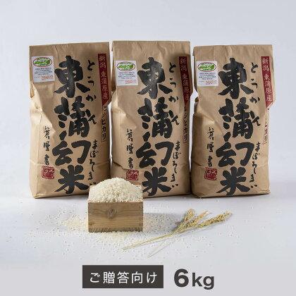 特別栽培コシヒカリ 化学肥料・農薬50%削減の『東蒲幻米』(ご贈答向け)6kg(2kg×3袋)<令和2年米>