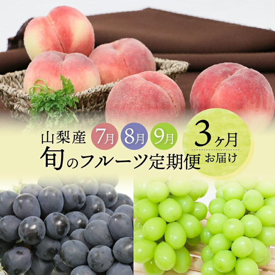 山梨産 旬のフルーツ定期便 3ヶ月 桃 黒ぶどう シャインマスカット フルーツ 送料無料
