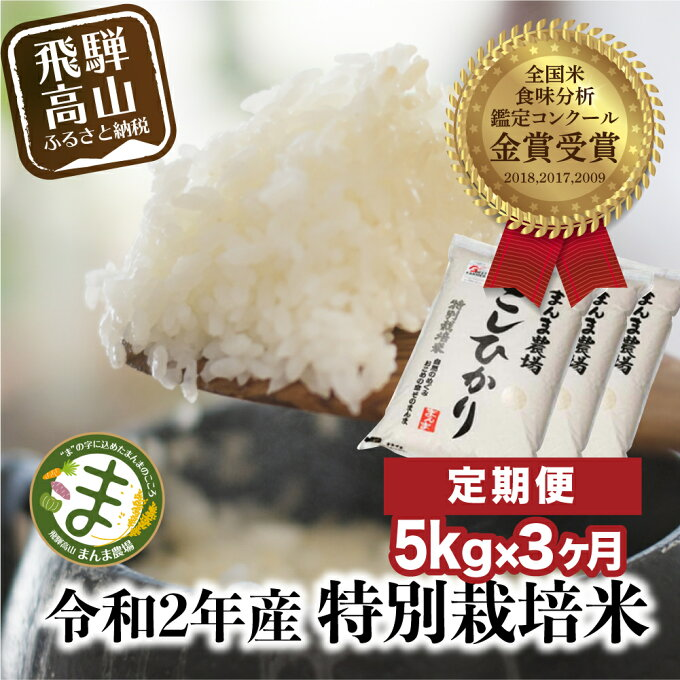 【ふるさと納税】  新米定期便 3ヶ月 飛騨こしひかり 5kg コシヒカリ 特別栽培...
