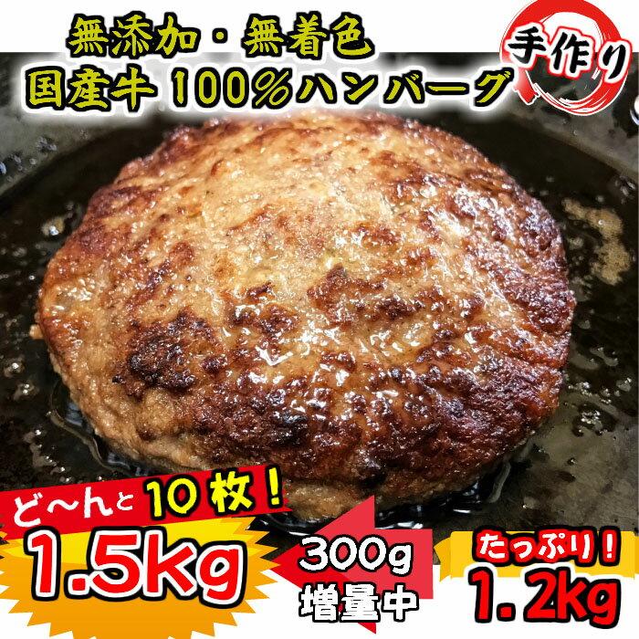 [期間限定]増量中!国産牛肉100%ビーフハンバーグステーキ!1.5kg