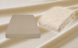【ふるさと納税】【セミダブルサイズ】羊毛ベッドパット&【セミダブル】25cm巾 プレミアムボックスシーツ(マットレスカバー) イズミファブリックスやわらか超長綿使用 抗菌防臭加工 カラー シャンパンベージュ(2P25BSD2SP)