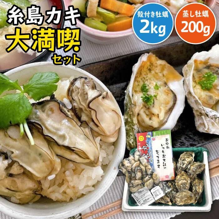 【ふるさと納税】糸島牡蠣のガンガン焼きセット(冷凍)殻付き真牡蠣2kg(20個前後)蒸し牡蠣200g(18個前後)[APD009]