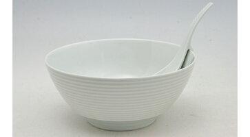 白磁千段 ラーメン鉢 レンゲ付