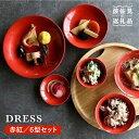 【ふるさと納税】【波佐見焼】赤紅(あかべに)色の波佐見焼 6型セット【DRESS】 [SD10]