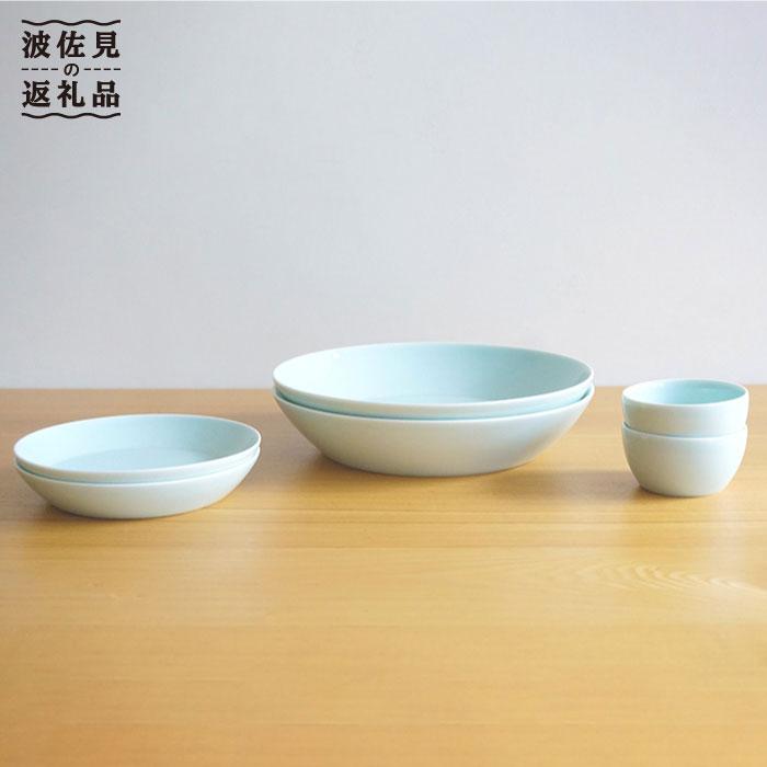 [2人分の食器]シンプルで実用的なS-lineセット 青白釉[白山陶器] [TA59]