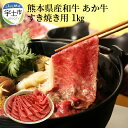 【ふるさと納税】熊本県産和牛 あか牛 すき焼き用1kg【熊本県宇土市】