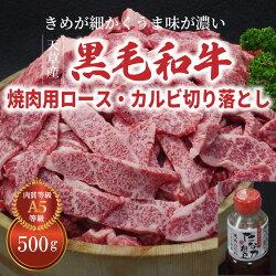 【ふるさと納税】天草産黒毛和牛 焼肉用ロース・カルビ切り落とし 500g 焼肉のたれ 1本付 画像1