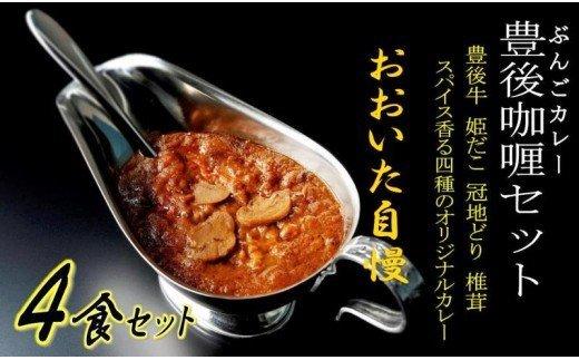 【ふるさと納税】4種の豊後レトルトカレー/4食セット