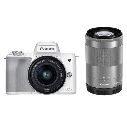キヤノンミラーレスカメラ EOSKissM2・ダブルズームキット(ホワイト)